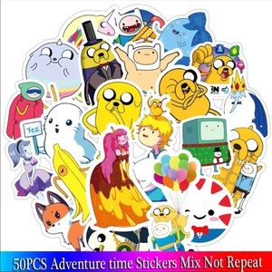 Brand New 50Pcs Adventure Time Random Stickers